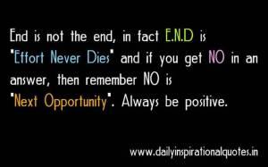 Effort Never Dies & Next Opportunity